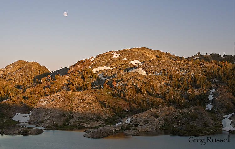 Sunset and moonrise at Thousand Island Lake, Ansel Adams Wilderness, California