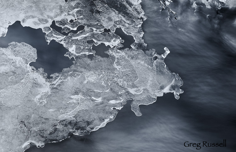 abstract image of ice on a creek in winter