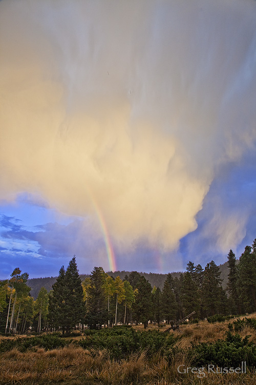 Rainbow and thunderstorm in northern New Mexico