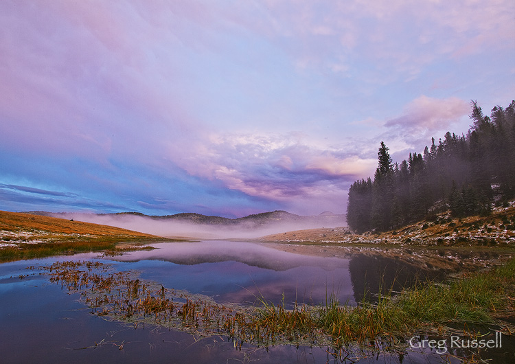 Sunset on a small pond at the Valles Caldera National Preserve, New Mexico