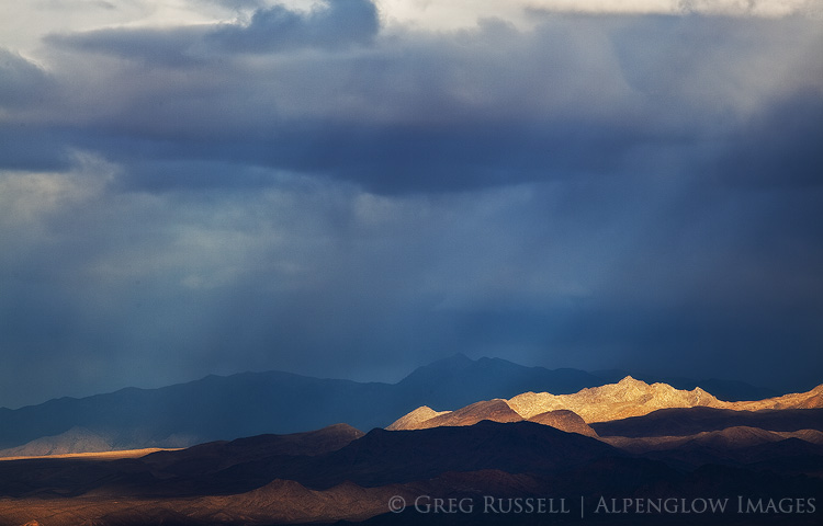 Storm light in the Mojave Desert, near Las Vegas Nevada