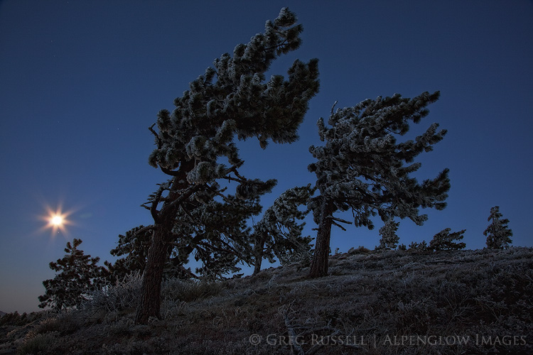 san gabriel mountains moonset near wrightwood