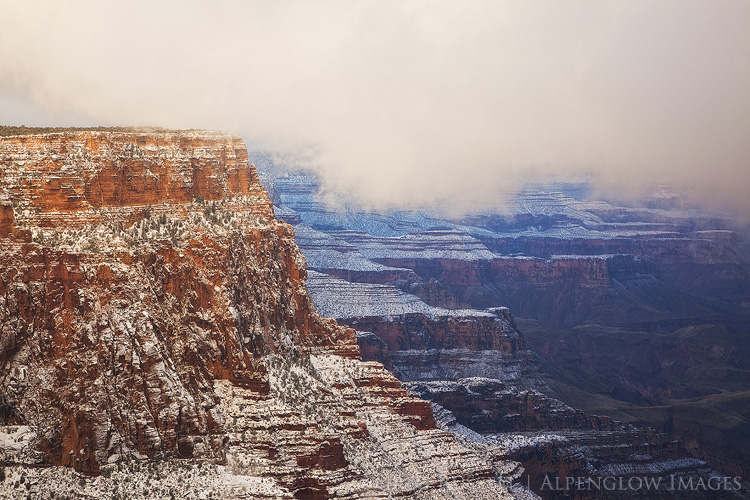 Stormy winter morning on the south rim of the Grand Canyon