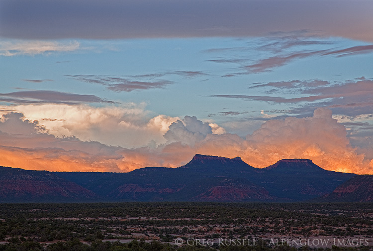 thunderstorm and fiery sunset at bears ears buttes in san juan county utah