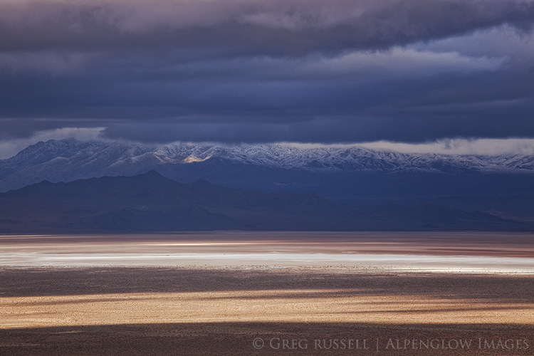 winter storm and dark clouds over the salt playa in columbus valley nevada