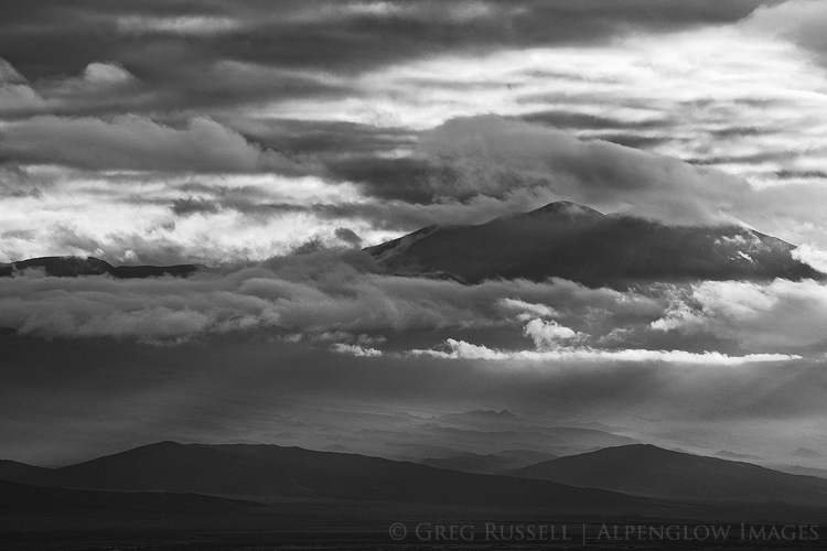 black and white image of the funeral mountains in death valley national park