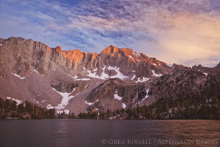 photo of a colorful sunset at Matlock Lake in the John Muir Wilderness, California