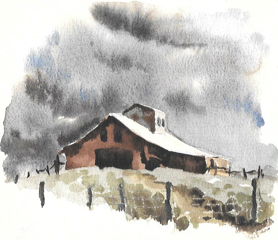watercolor painting of an abandoned barn on a hill with ominous grey skies behind it