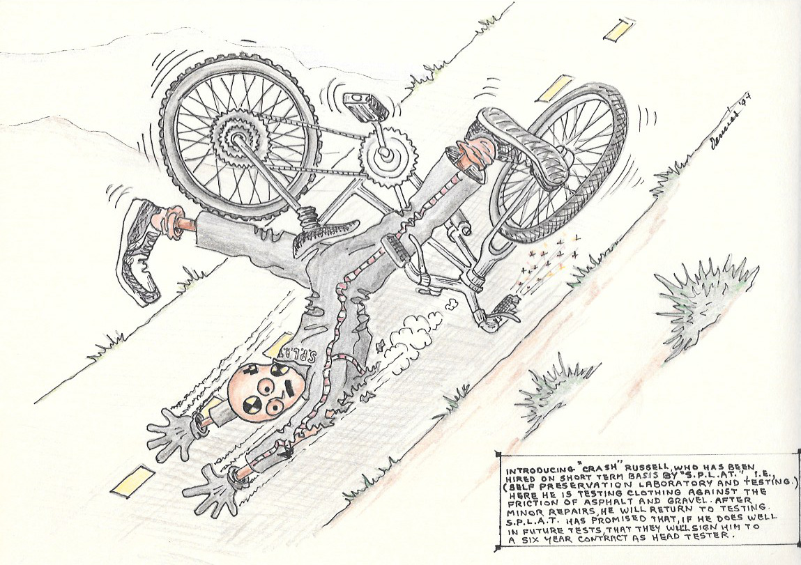 cartoon of a crash test dummy in a bicycle accident