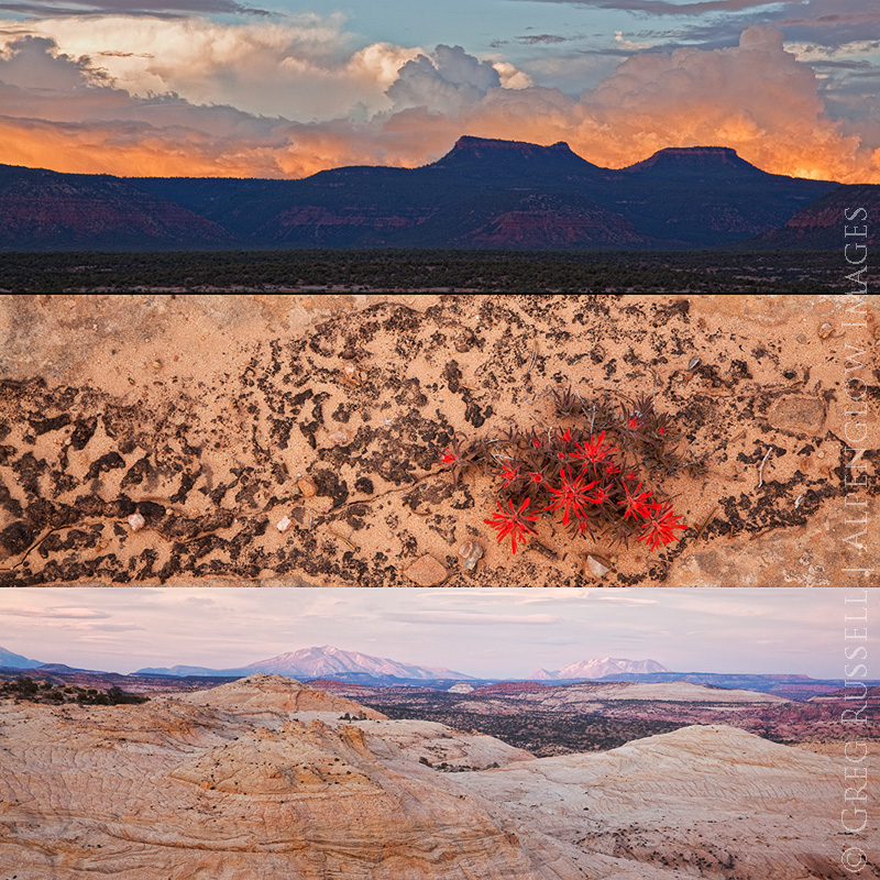 Three photos of monuments in southern utah, which are all under attack by the Trump administration