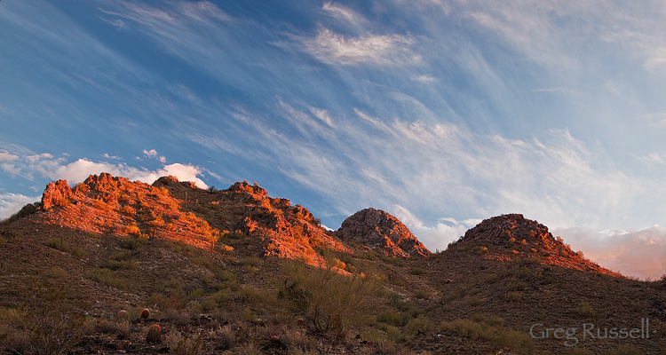 sunset at phoenix mountain reserve, in metro phoenix arizona
