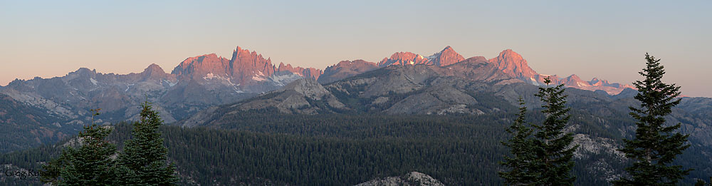 A panoramic photo of the Ritter Range, Sierra Nevada, California