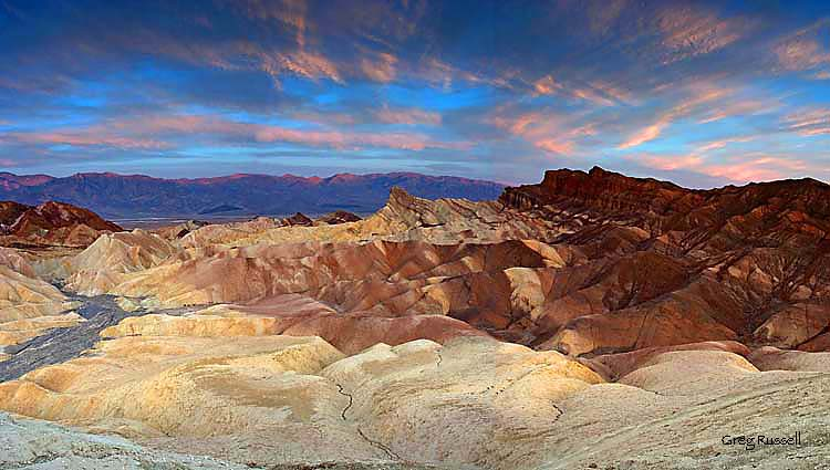 Panoramic photograph of Zabriskie Point at sunset, Death Valley National Park, California