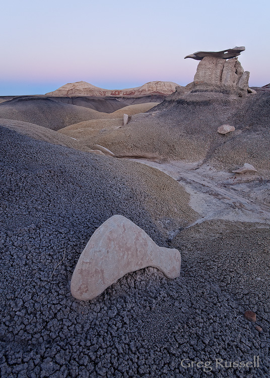 Hoodoos during the gloaming hour in the Bisti Badlands of northern New Mexico