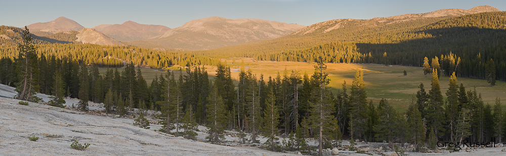 Tuolumne Meadows, with many of the major peaks in Yosemite National Park