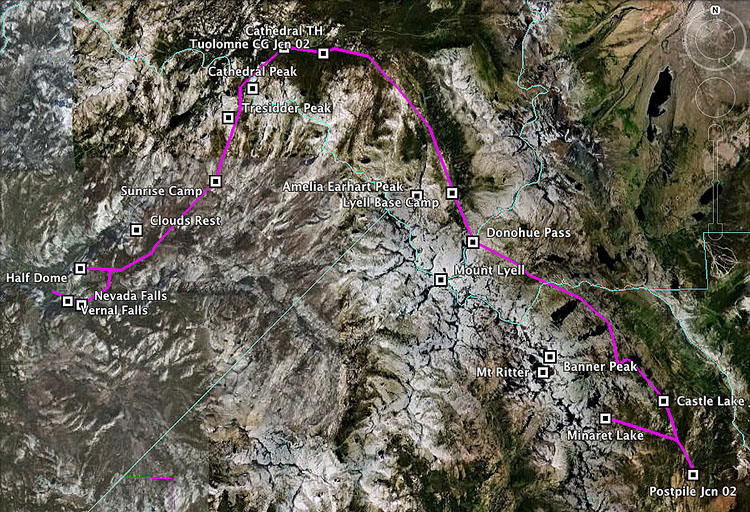 map of backpacking trip
