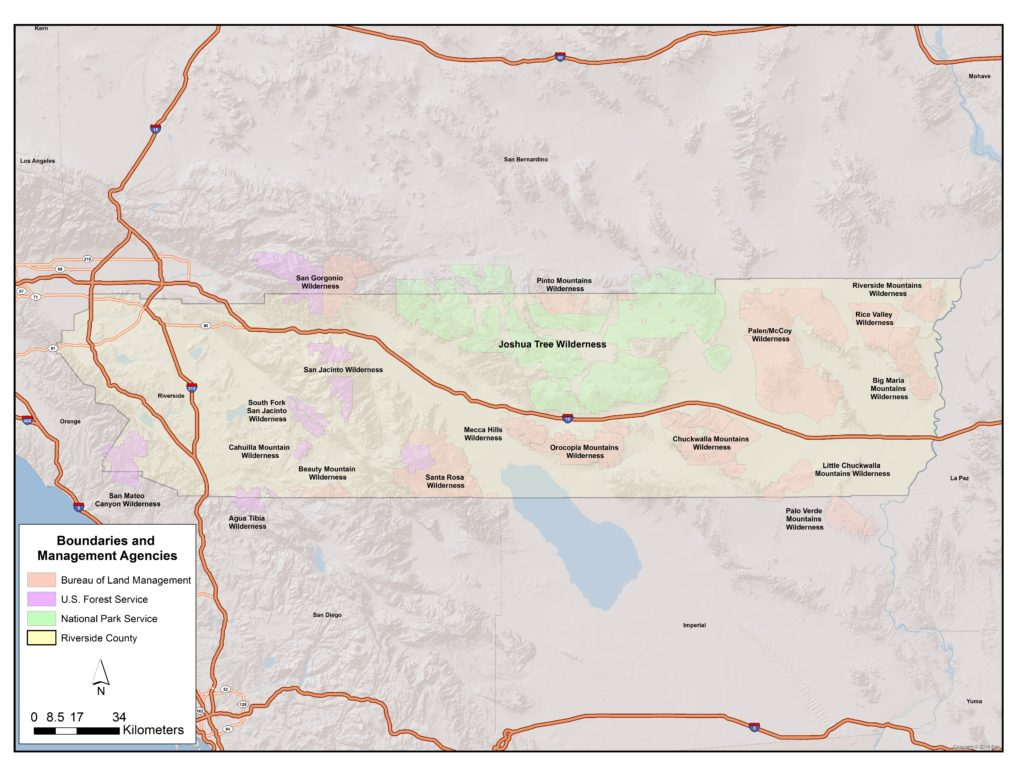 GIS map showing federally designated wilderness areas in Riverside County, California